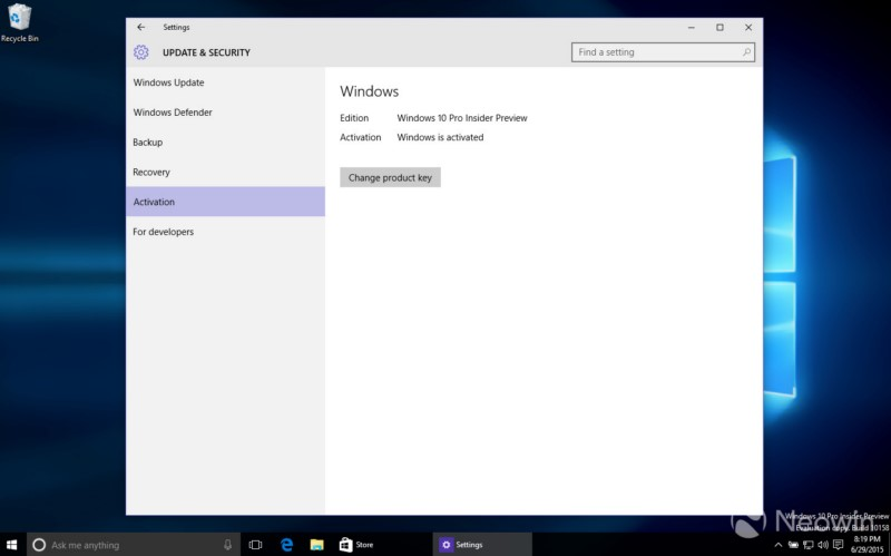 L'activation de Windows 10 est également simplifiée