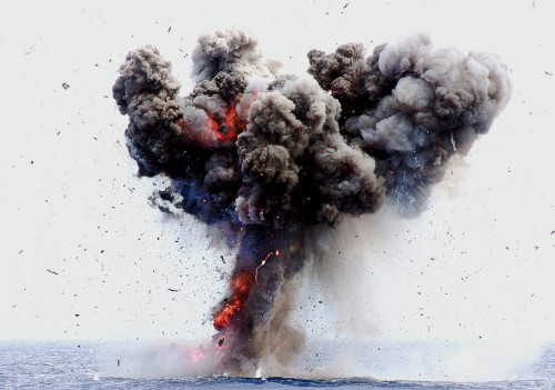 The British registered 'Baby Iris' yatch is destroyed at sea by the Kenya defence force after drugs were found on board, on August 14, 2015. Anti-narcotic officers said they found some 7.1kg of heroine that is said to have been on the vessel, and which was seized by the Kenyan authorities in April 2015. AFP PHOTO/LABAN WALLOGA