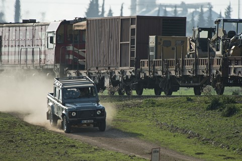(Adana, Turkey) The Land Rover pursues the train on the set of Metro-Goldwyn-Mayer Pictures/Columbia Pictures/EON Productions� action adventure SKYFALL.